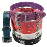 Pet Cat Dog Buckle Neck Leather Strap Collar