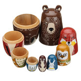 5 nesten poppen houten aniimal beer Russische pop Matryoshka Toy Decor Kid Gift