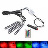 リモートコントロールカーRGB LEDインテリア装飾フロアライト雰囲気ストリップランプ4PCS