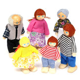 6PCS Wooden Family Dolls Dolls Set Enfants Enfants Toy Dollhouse Figures Personnages habillés