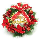 30 سنتيمتر الأحمر البلاستيك عيد الميلاد اكليلا الدائري شجرة ديكور المنزل مهرجان زهرة الدائري