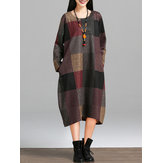 S-5XL Vintage Women Plaid Long Sleeve Dresses