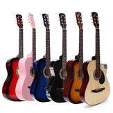 38 Zoll Hölzerne Folk Akustikgitarre 6 Farbgitarre mit Tasche für Anfänger