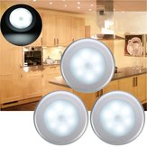 3pcs Batería Powered PIR Motion Sensor 6 LED Night Light White / Warm White Lámpara para gabinete de pasillo