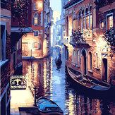 40X50CM Frameless The Water World Of Venice Canvas Linen Canvas Oil Painting DIY Paint By Numbers