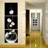 40x40cmコンビネーションキャンバスプリント絵画3本の花ロータスキャンバスホームペーパーアート