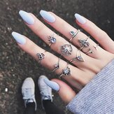9 Adet Bohemian Statement Zil Seti Helm Yaprak Knuckle Rings