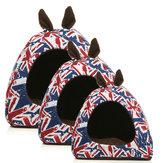 暖かい犬の犬の家猫の子犬イギリスの耳の旗眠っているクッションのベッドハウスハットのバスケット犬のパッド