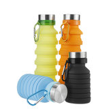 550ML Silicone Folding Water Bottle Outdoor Travel Hiking Running Collapsible Water Bottle with Carabiner