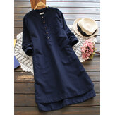 Vintage Buttons Shirt Cotton Mini Dress