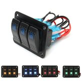 3 Gang 12V / 24V Toggle LED Interruptor basculante On-Off Coche Marine barco Impermeable