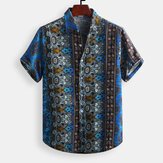 Mens Vintage Ethnic Style Printed Casual Fashion Shirts