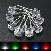 20pcs 8mm Straw Hat Blue Green Yellow Red LED Water Clear Light Emitting Diodes Lamp