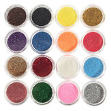 16 colores de la sombra de ojos pigmento Brilho polvo Spangle Set Uña Decoración del arte DIY Bling Party Shimmer Maquillaje