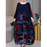 Chinese Style Vintage Velvet Long Sleeve Patchwork Dress