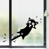 Honana Cartoon Clip to The Tail of A Cat Wall Sticker for Home Decor PVC Decals Doors Windows Car Stickers Black Cat Clip Tail Pattern Vinyl Wall Art Decals for Kitchen Cabinet Car Door DIY Stickers