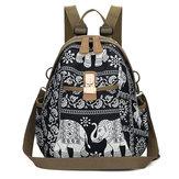 女性ゾウプリントトラベルバックパックナショナルショルダーバッグ