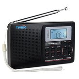 TIVDIO V-111 MW / FM /SW Stereo Radio 9KHz World Band Digital Tuning Radio LCD Display Outdoor Pocket Radio Shortwave Radio Alarm Clock Battery Operated Radio for Travel