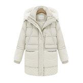 Futrzany kołnierz Zipper Zimowe ciepłe damskie płaszcze z długim rękawem