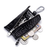 Men Women Genuine Leather Crocodile Grain Coins Bag Key Holder