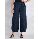 S-5XL Kadın Casual Gevşek Elastik Bel Pantolon
