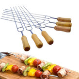 6 Stuks 15.2 Inches U Vorm Stainless Steel Barbecue Skewer Houten Handvat BBQ Staal Naald Sticks