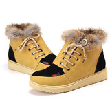Winter Lace Up Flats Bont Lining Houd Warm Katoen Ankel Snow Boots