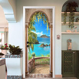 3D Sea Balcony Arch Door Wall Sticker Self-adhesive Mural Photo Wall Decal