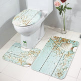 3PCS Toilet Seat Covers Set da bagno Flanella Starfish Shell Wc Tappeto antiscivolo Coperchio Piedistallo Tappetino
