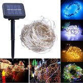 Solar Powered 20M 200LEDs Copper Fio Fairy String Light para o Natal Wedding Patio