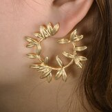 Fashion Metal Hallow Leaves Earrings