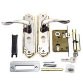 2 Set Aluminum Alloy Dual Latch Door Handle Front Back Lever Security Lock Cylinder with Key