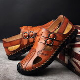 Cowhide Hand Stitching Casual Soft Beach Leather Sandals
