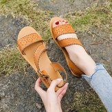 43 Large Size Sandals Women's New European And American Lace Open Toe Flat Wild Sandals Beach Broadband Buckle