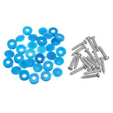 16Pcs Número de licencia Placa Phillips Self Tapping Tornillo con tapas bisagras azul