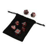 7 Stücke Antike Metall Polyhedral Würfel Multisided Würfel Set Rolle Spielen Spiel Würfel Mit Tasche