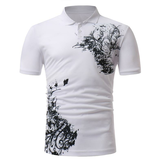 Men's Classic Black White Printing Short-sleeved Golf Shirt