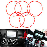 5pcs Red Air Vent Outlet Ring Cover For Mercedes Benz CLA GLA180 200 220 260