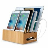 Bamboo Multi-device Phone Holder Charging Dock Stand Holder Tablet Stand para Smartphone Tablet
