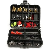 128st vissen lokt Hooks Baits Black Tackle Box Full Storage Case Tool Set