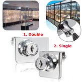 Single/Double Glass Cabinet Door Lock Cam Key Showcase Display Locking with 2 Keys