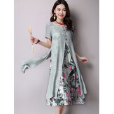 Floral Printed Dress Two Layers High Split Dresses