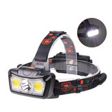 XANES® 1300LM T6 + 2xCOB LED HeadLamp Waterproof 4 modalità Outdoor Running campeggio Hiking Cycling Light 2x18650 DC Interfaccia ricaricabile