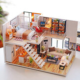Loft Apartments Miniature Dollhouse Wooden Doll House Furniture LED طقم هدايا عيد الميلاد عيد الميلاد