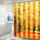 71''x71'' Autumn Deciduous Forest Waterproof Polyester Shower Curtains With Hooks