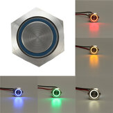 12V 5 Pin 19mm Led Light Stainless Steel Push Button Momentary Switch Sliver