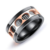 Casual Stainless Steel Twelve Rome Digital Rotatable Ring