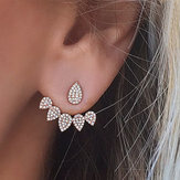 Trendy Flower Earrings Gold Silver Full Rhinestones Ear Stud Gift for Women
