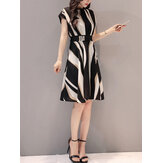 Women Trendy Short-sleeved Striped Loose Dress