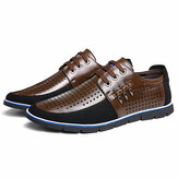 Men Genuine Leather Hole Oxfords